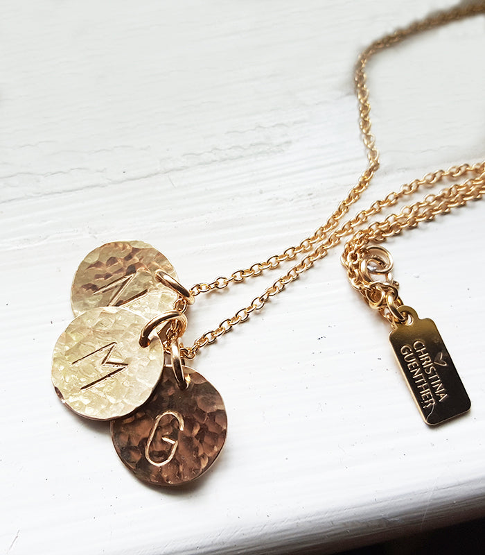 Letter Perfect Gold Initial Necklace Hand Stamped Christina Guenther Jewelry