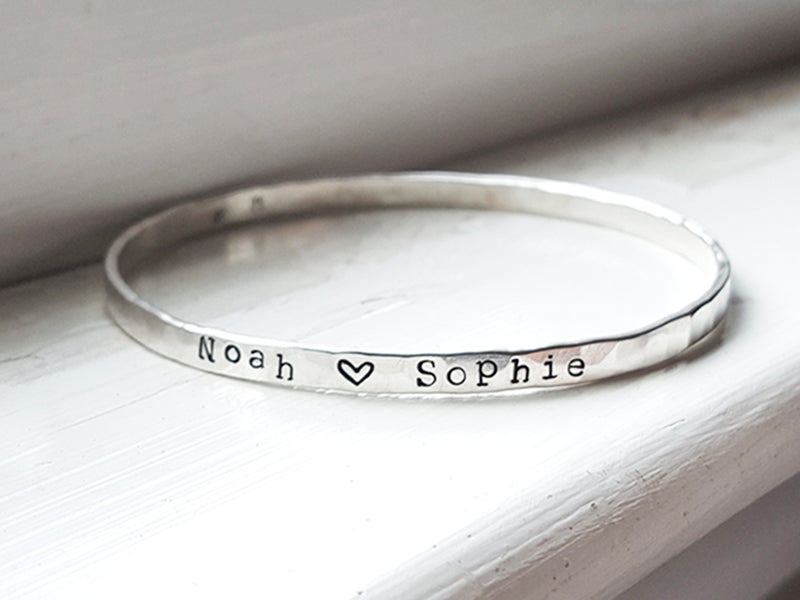 Endless Love personalized hand stamped name or mantra bangle Christina Guenther Jewelry