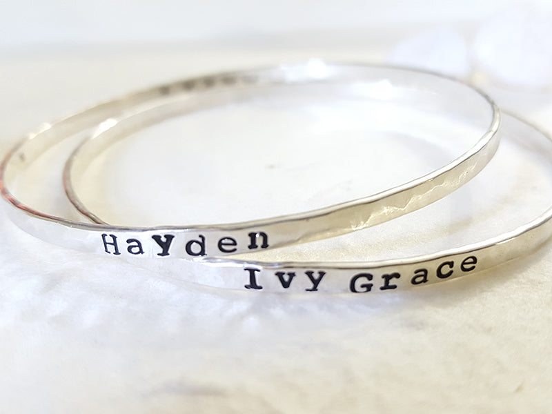 Endless Love personalized hand stamped bangle Christina Guenther Jewelry