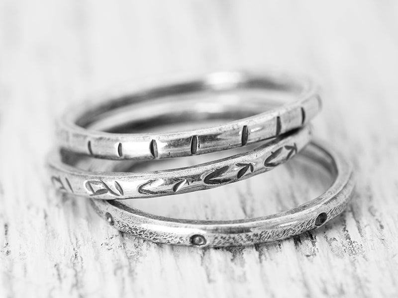 Three Blessing Handcrafted Sterling Silver Stack Ring Set Christina Guenther Jewelry
