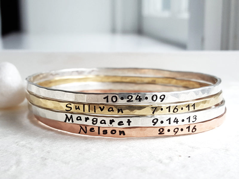 Celebration Bangles Handmade Hand Stamped Custom Personalized Name Birthdate Bangles Christina Guenther Jewelry