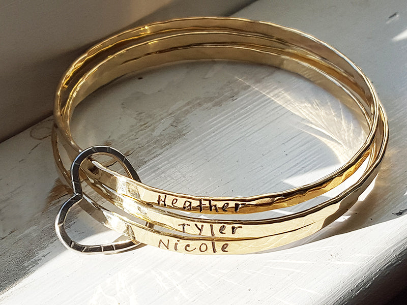 Heart Filled With Gold Bangle Hand Stamped Personalized Kays Jewelry Christina Guenther Jewelry