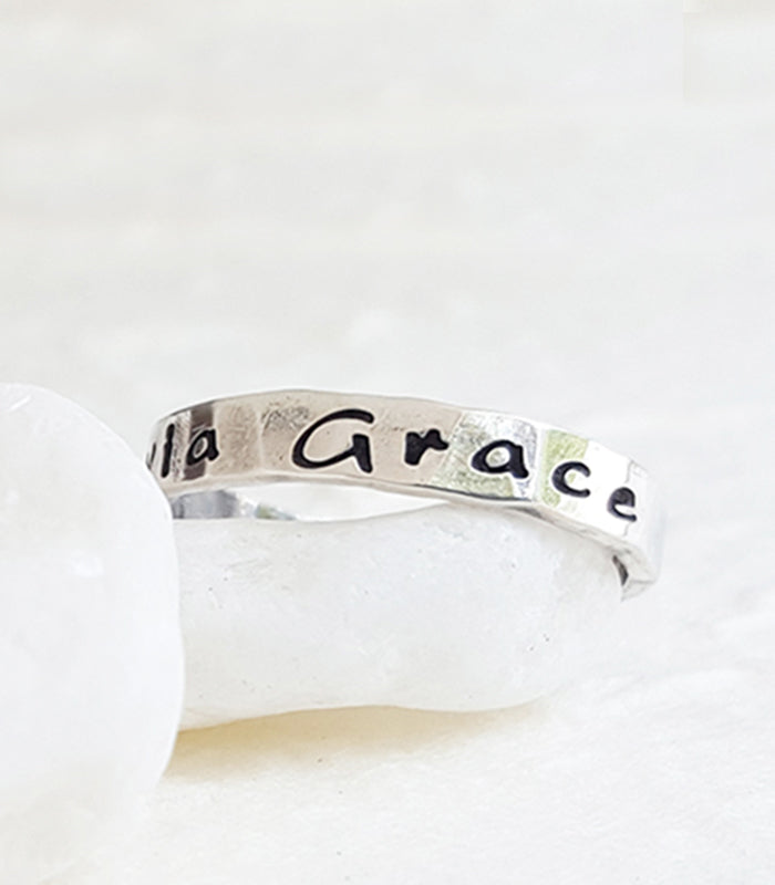 Hand Stamped Sterling Silver Custom Personalized Name Ring Christina Guenther Jewelry