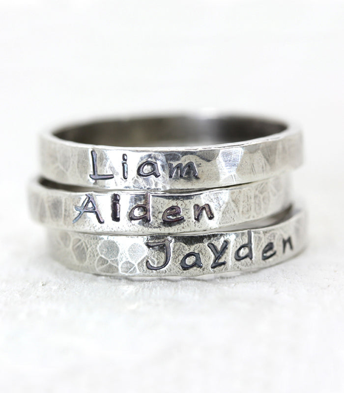 Rustic Hand Forged Sterling Silver Custom Hand Stamped Personalized Name Ring Christina Guenther Jewelry