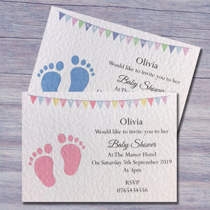 Footprint Baby Shower Invitation