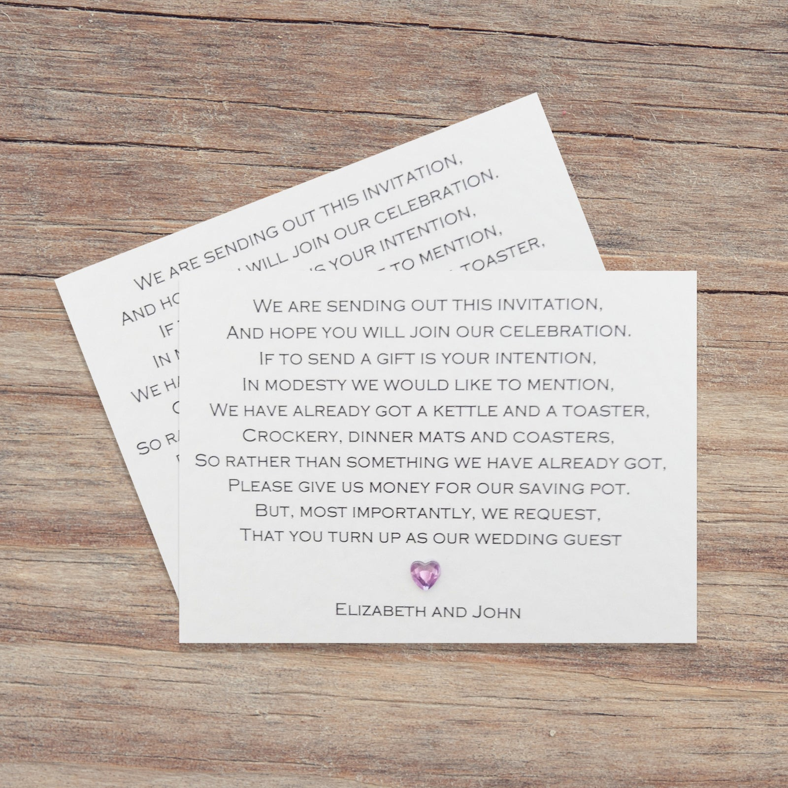 Wedding Invite Gift Poem: Occasions By Rebecca Ltd