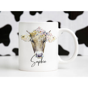 Cute Cow with Bow Personalised Mug