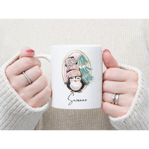 Cute Christmas Penguin Personalised Mug