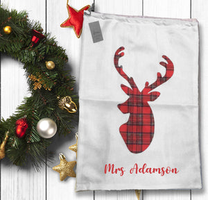 White Hessian Look Santa Sack With Tartan Reindeer