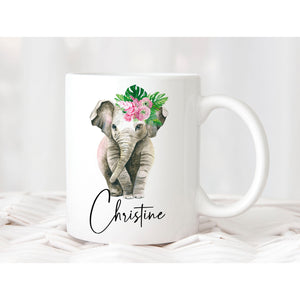 Cute Baby Elephant Personalised Mug