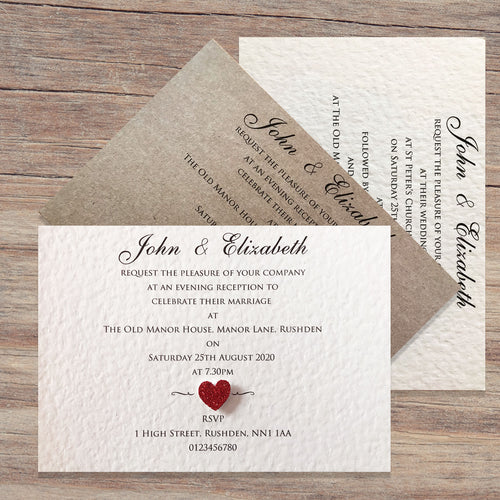 ELIZABETH Day or Evening Invites - Glitter