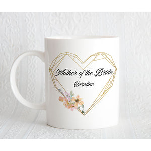 Geometric Gold Frame Personalised Bridal Party Mug