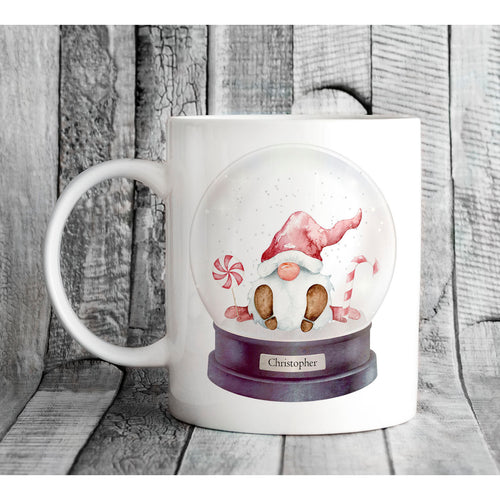 Christmas Gnome Snow Globe Personalised Mug
