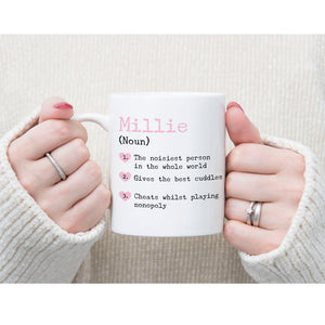 Personalised Name Hearts Definition Mug
