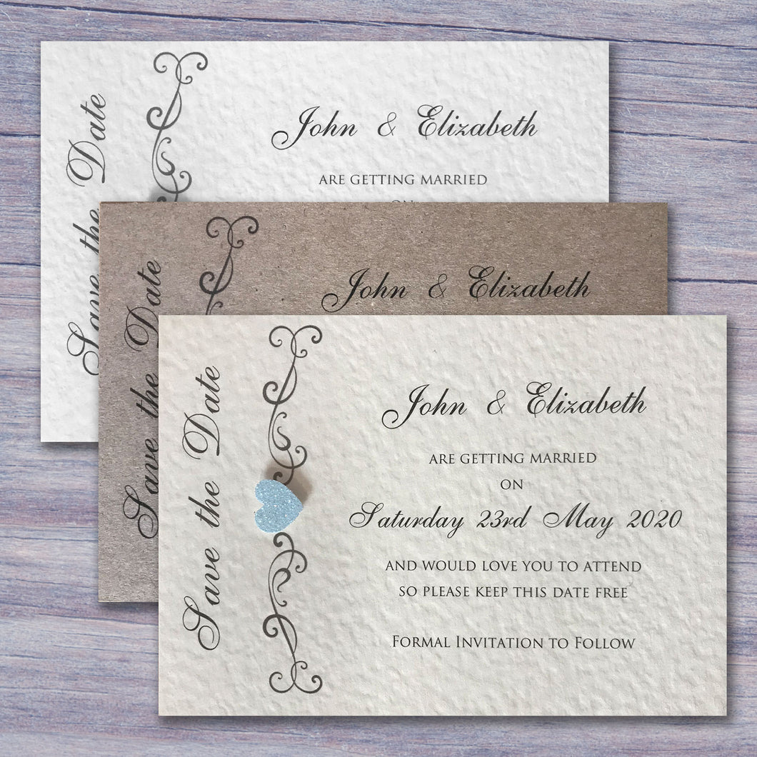 JENNIFER Save the Date Cards - Glitter