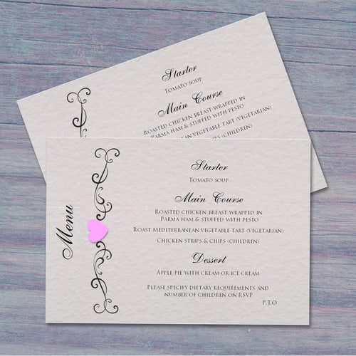 JENNIFER Wedding Menu - Pearl