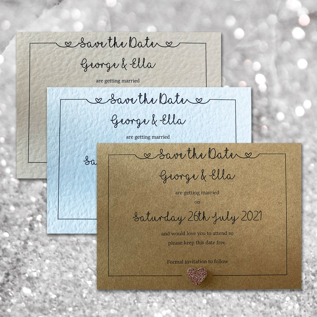 LOLA Save the Date cards - Glitter