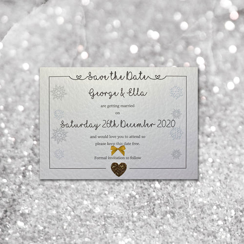LOLA Christmas Save the Date cards - Glitter