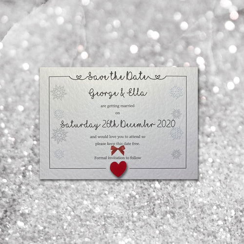 LOLA Christmas Save the Date cards - Pearl