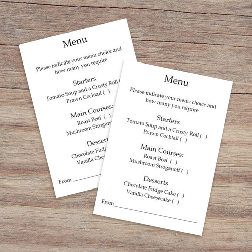 Menu Choice Cards