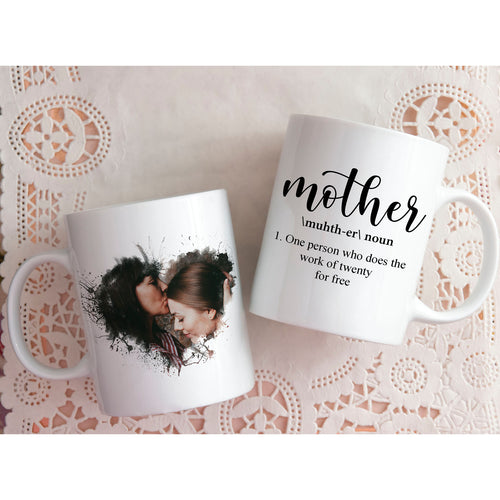 Watercolour Heart Mother Definition Photo Mug