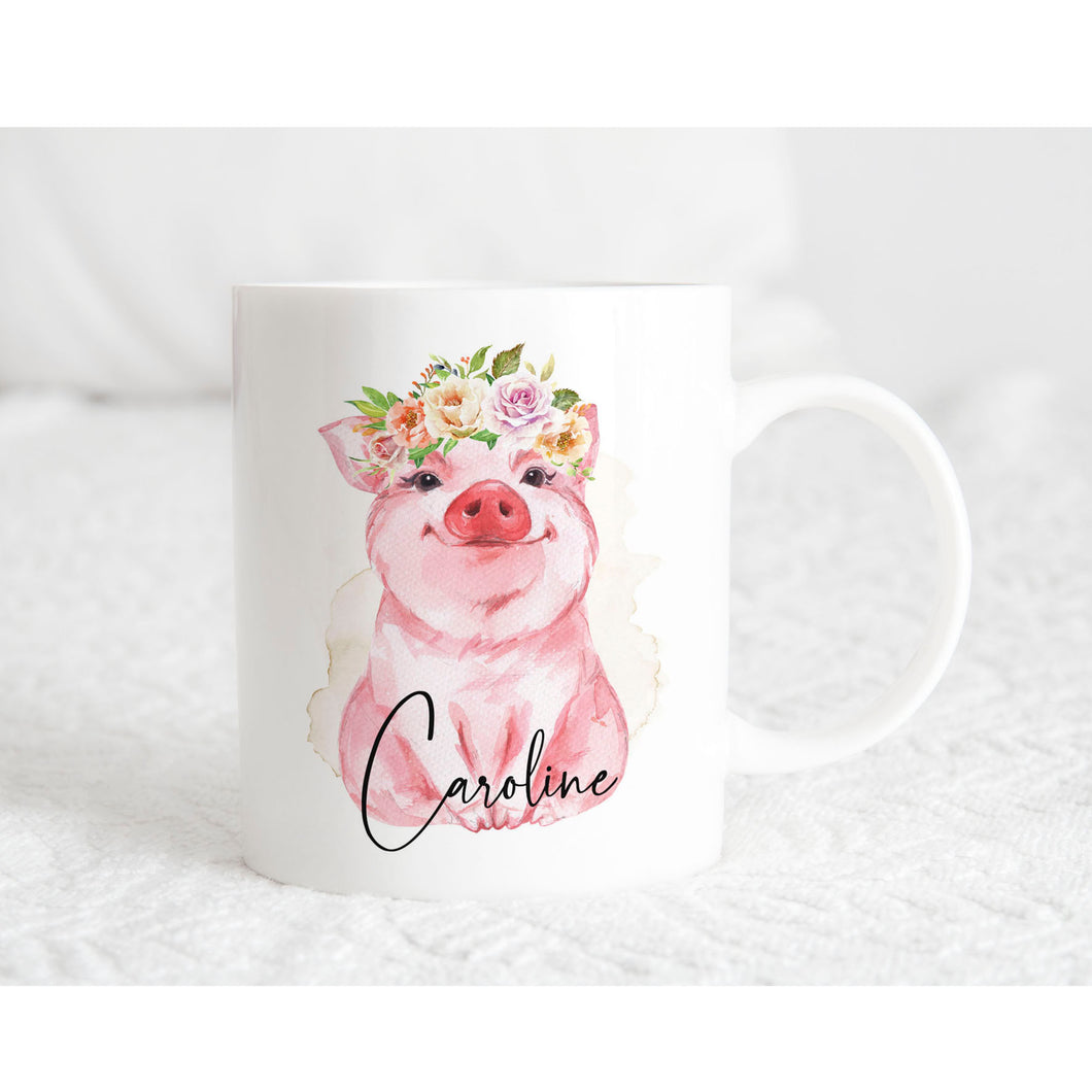 Cute Pig with Flower Crown Personalised Mug