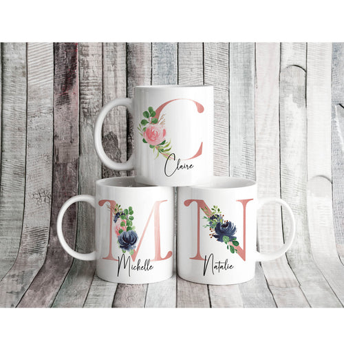 Rose Floral Personalised Initial Mug