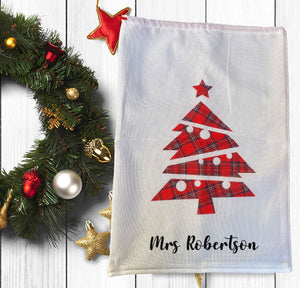 White Hessian Look Santa Sack With Tartan Tree