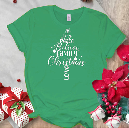 Joy Family Christmas Tree T-Shirt