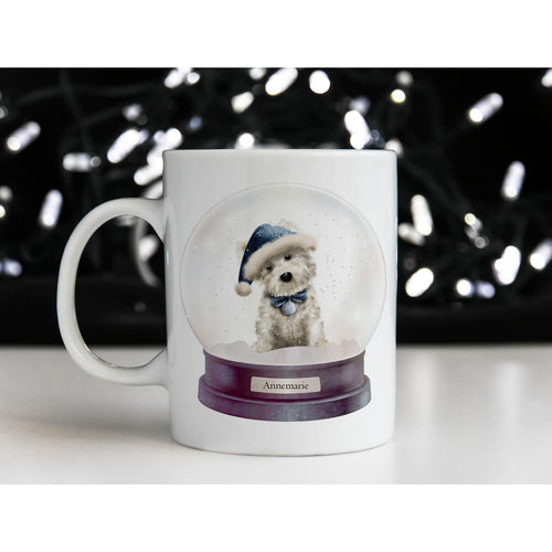 Cute White Dog Christmas Snow Globe Personalised Mug