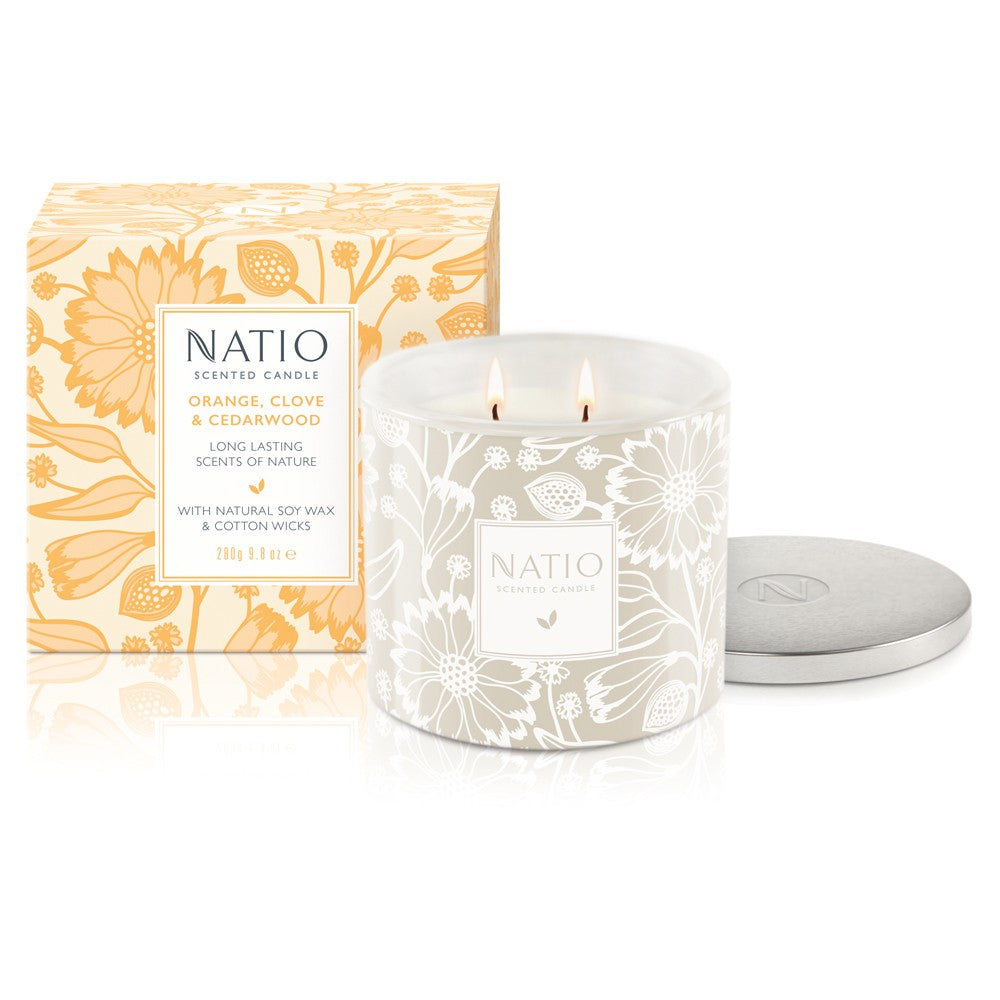 NEW Natio Scented Candle - Orange, Clove & Cedarwood