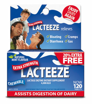 Lacteeze Extra Strength Chewable Tablets
