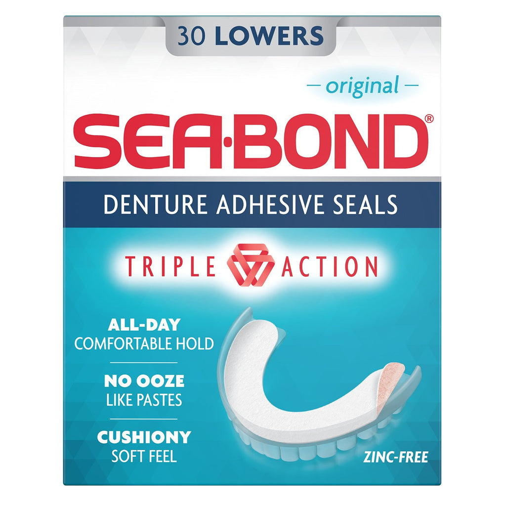 Sea Bond Denture Adhesive, Original Lowers, 30 Count