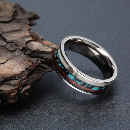 Men's 8mm Vintage Titanium Wood And Turquoise Inlay Ring - Sizes 6-13 - Average Jack