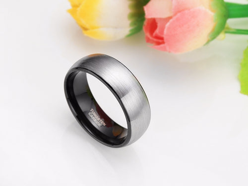 8mm Tungsten Carbide Ring With Classic Brushed Finish - Sizes 6-13 - Average Jack