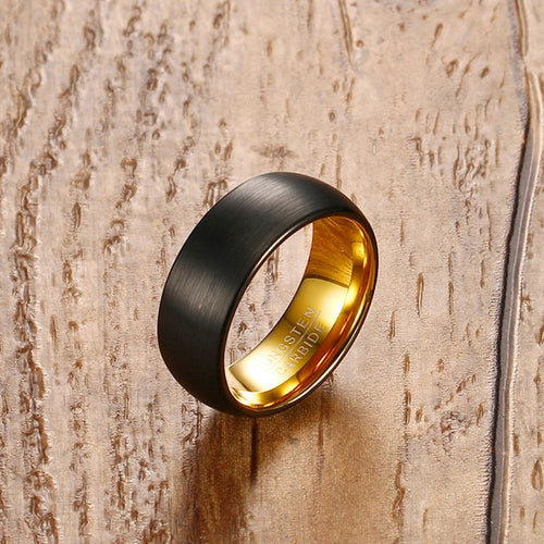 Men's 8mm Tungsten Carbide Black Matte Surface Gold Interior Ring - Average Jack