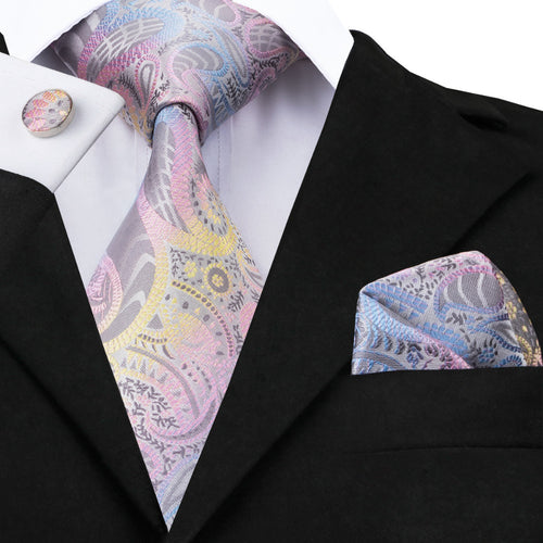 Men's 100% Silk Mixed Color Floral Paisley Tie - Free Matching Handkerchief & Cufflinks - Average Jack