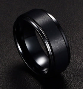 Men's 8mm Black Tungsten Carbide Textured  Ring - Average Jack