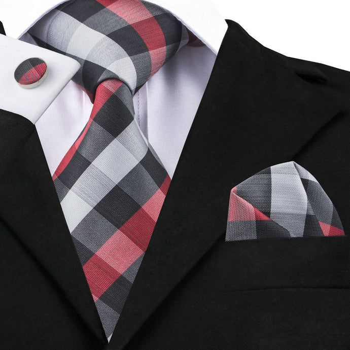 Men's 100% Silk Black White Smoke Firebrick Plaid Tie - Free Matching Handkerchief & Cufflinks - Average Jack