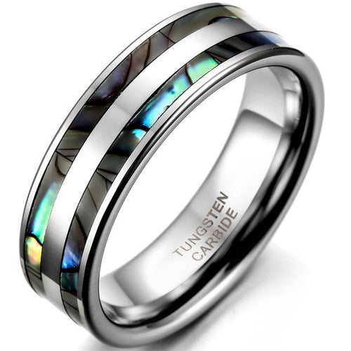 8mm Top Quality Tungsten Carbide Ring with Double Abalone Shell Inlay - Men's & Women's Sizes - Average Jack