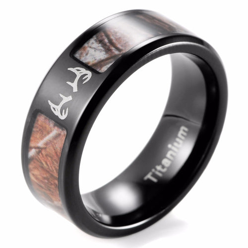 Men's Black Titanium Deer & Camo Ring - Size 8-14 - Average Jack