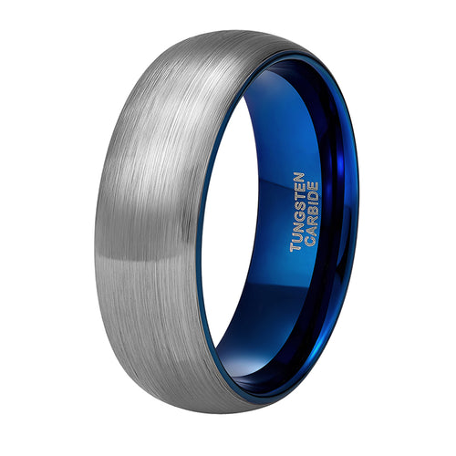 Men's 8mm Brushed Silver Tungsten Carbide Ring Blue Inlay - - Average Jack