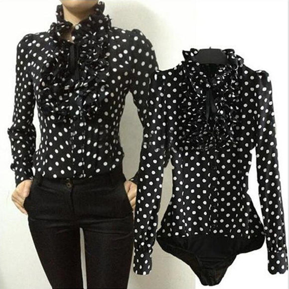 Frill Collar Polka Dot Women Blouses Long Sleeve