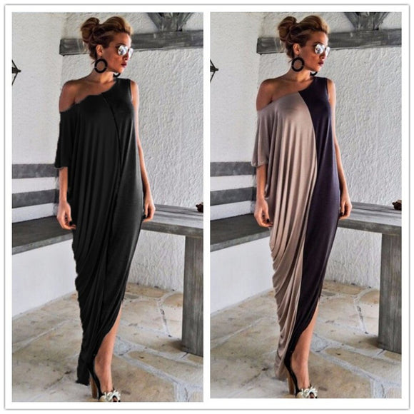 Casual Hollow Out Backless Loose Women Dress Sexy Collar Patchwork Irregular Maxi Dresses