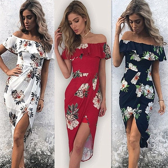 Hot Fashion Women Cocktail Party Sexy Off Shoulder Flower Print Dress