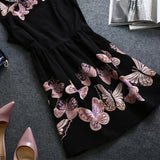 Elegant Women Tank Dress O-Neck A-Line Butterfly Dresses Women