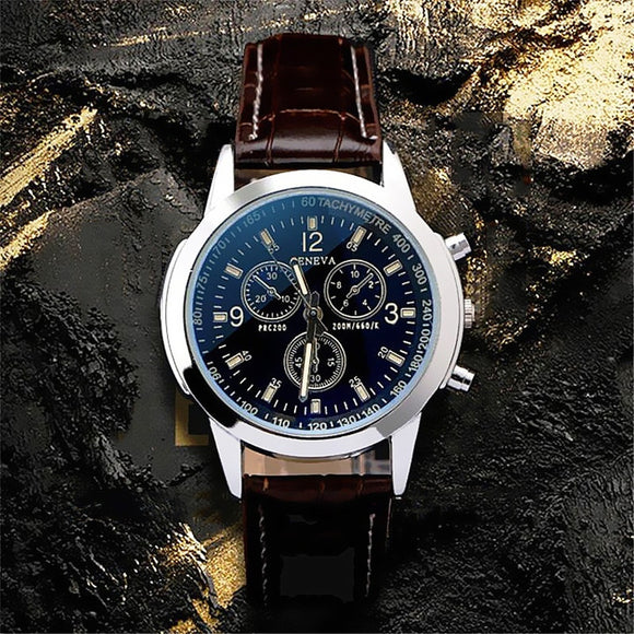 1 Pcs Fashion Watch Men Leather Strap Simulation Three Eyes Dial Luminous Outdoor Quartz Watch