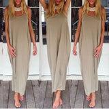 Fashion Women Backless Strapless Sexy Ladies Baggy Casual Loose Long Maxi Dress Beach Clubwear