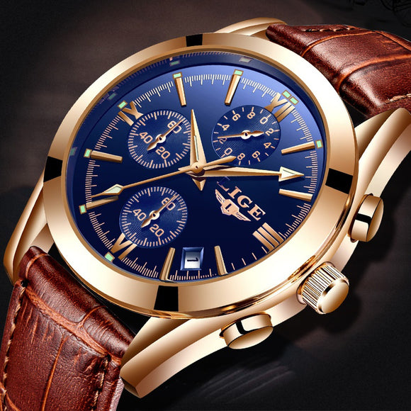 MORE THAN 5000 BOUGHT / LIGE Luxury Designer Watch Men Quartz Brown Leather Mens Dial Business Watches Waterproof