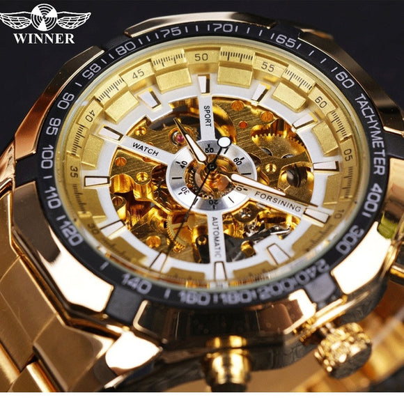 FORSINING Men's Mechanical Automatic Dressing Analogue Round Wrist Watch with Stainless Steel Bracelet Skeleton Dial Golden Clas